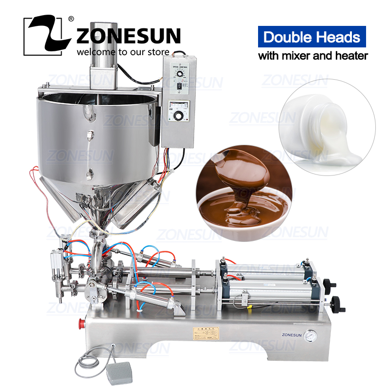 ZONESUN Mixing With Heater Filler Arequipe Viscous Liquid Paste Chocolate Sauce Alcohol Gel Equipment Bottle Filling Machine