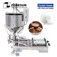 ZONESUN Mixing with Heater Filler Arequipe Viscous Liquid Paste Chocolate Sauce Equipment Bottle Filling Machine