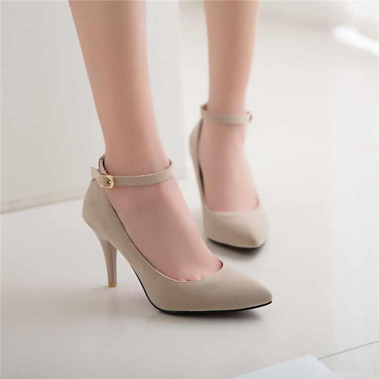 Plus Größe 12 13 14 15 16 damen high heels frauen schuhe frau pumpen Sharp-spitz, dünne absätzen schnalle, flach-mund Marijane