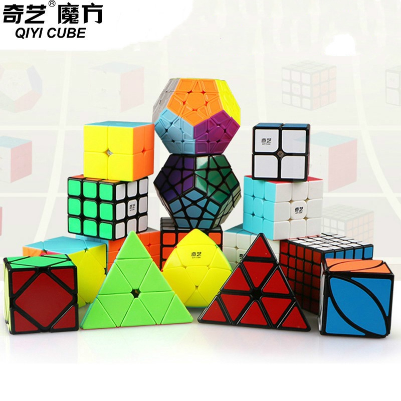 4pcs/set Qiyi Mofangge 2x2 3x3 4x4 5x5 Speed Cube Pyramid Megaminx Skewb Magic Cubos Bundle Set Twist Puzzle Toys for Children