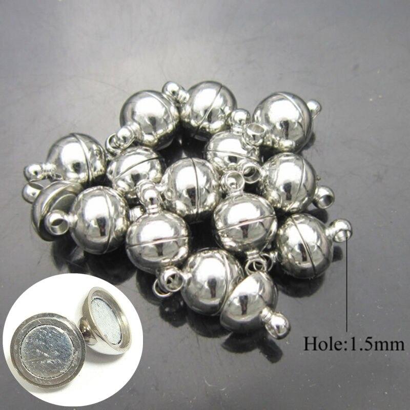 Круглые бусины 6 мм/8 мм, 10 шт., магнитная застежка, соединители «сделай сам» для ювелирных изделий, браслетов, ожерелий, фурнитура для изготов...