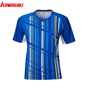 2020 Kawasaki Badminton Shirt oddychająca dla mężczyzn szybkie suche koszulki do biegania z krótkim rękawem tenis dla mężczyzn odzież sportowa ST-R1206 tanie i dobre opinie V-neck Pasuje prawda na wymiar weź swój normalny rozmiar Oddychające Poliester Blue Red 100 Polyester M~4XL Short-sleeved Shirt