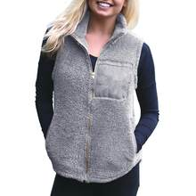 Frauen Warme Öffnen Stich Faux Pelz Westen Fleece Jacken Winter Westen Damen Casual Ärmellose Mäntel Outwears(China)