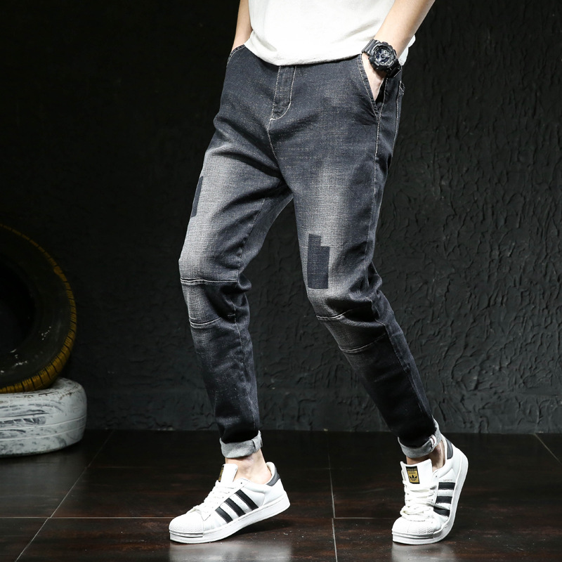 Spring Ultra-stretch Harem Jeans Men's Loose-Fit Legs Skinny Plus-sized Fat Elastic Pants Fashion