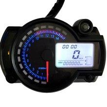 عداد السرعة العالمي للدراجات النارية ، مقياس سرعة الدوران الرقمي LCD ، 7 ألوان مع ضوء تحذير الخطأ