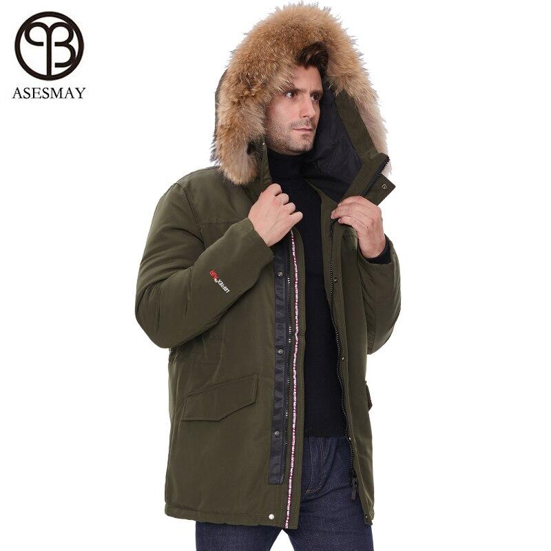 2019 nueva chaqueta de invierno para hombre, abrigos con capucha y cuello de piel, Parka para hombre, chaquetas gruesas, abrigadas, a prueba de viento, prendas de vestir exteriores informales - 4