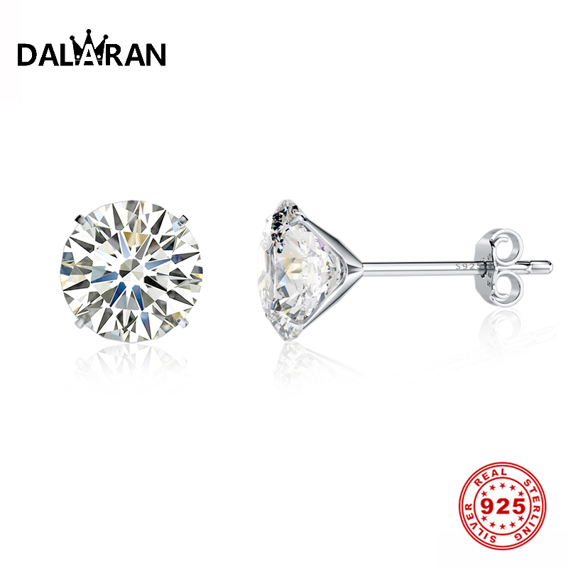 DALARAN Crystal 925 Sterling Silver Four Claws Zircon Stud Earrings For Women Wedding Fashion Sterling Silver Jewelry  3mm 8mm