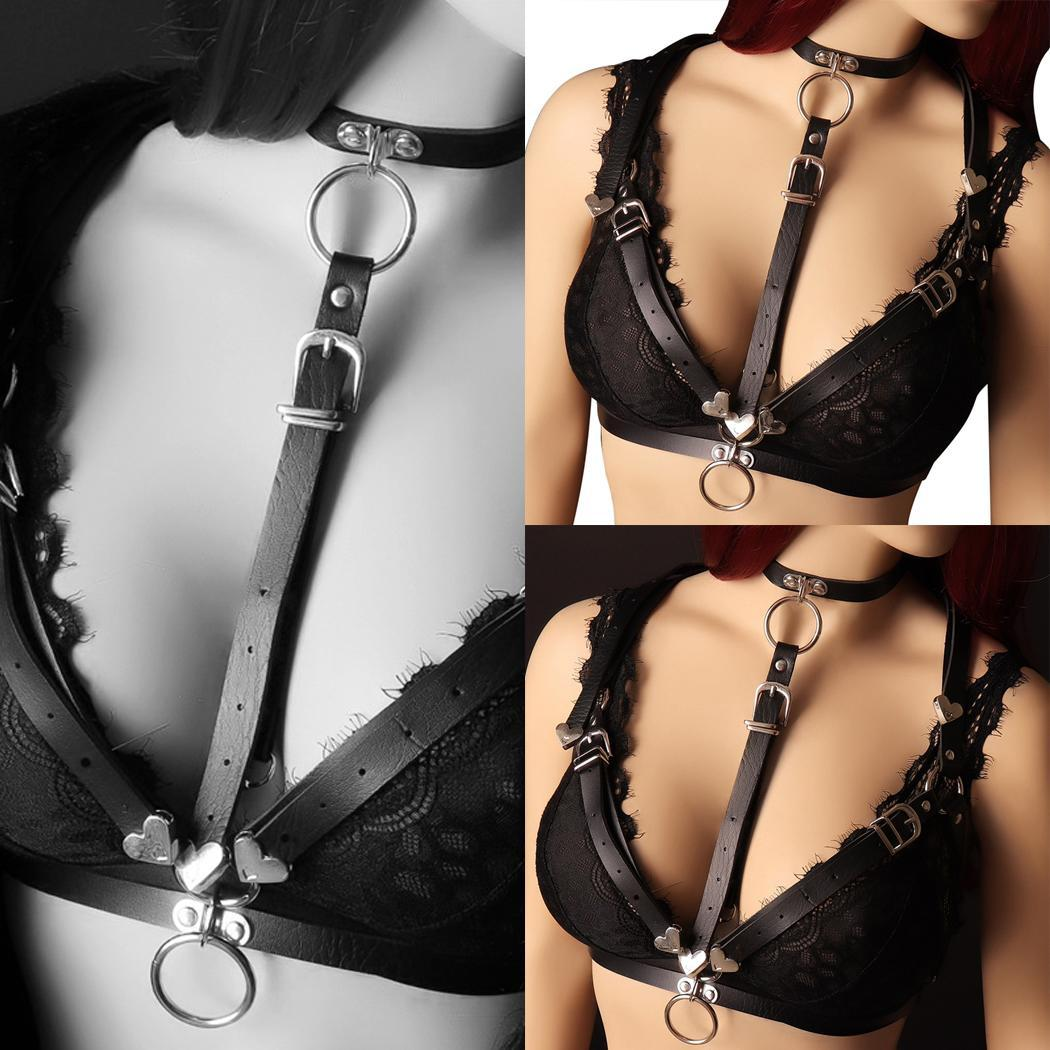 Women Sexy Lingerie Cupless Bra Night Clubwear Leather Hanging Summer Harness Clubwear, Nightwear Solid Bra