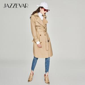 Image 3 - JAZZEVAR 2019 nueva primavera otoño moda Casual mujers khaki Trench Coat ropa larga suelta para dama con cinturón 850115