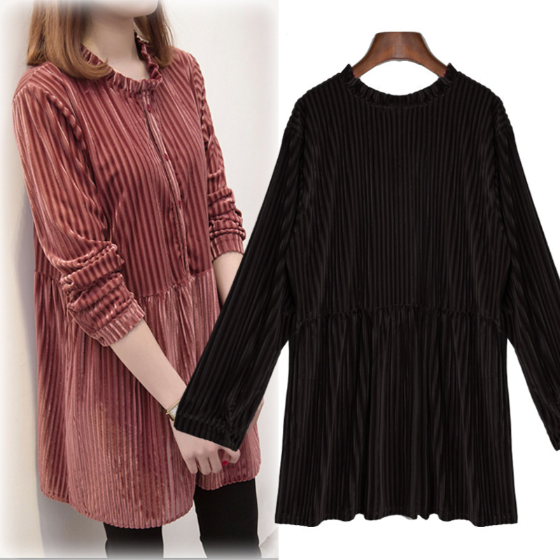2019 Korean-style Large GIRL'S Plus-sized WOMEN'S Dress Loose-Fit Striped <font><b>Shirt</b></font> Plus-sized Tibetan Meat Long Sleeve Base <font><b>Shirt</b></font> <font><b>F</b></font> image