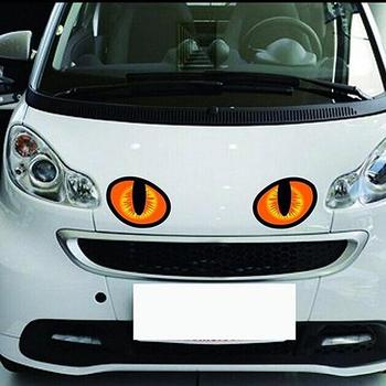 1 Pair Ultra-realistic 3D Cute Cat Eyes Car Stickers Car Rearview Window Decals image