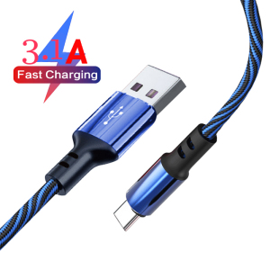 3.1A USB Type C Cable Fast Charging usb-c type-c Data Cables 1M/2M Cord For Samsung Huawei Xiaomi redmi note 8/9 pro phone wire