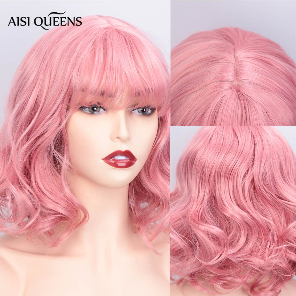 AISI QUEENS Synthetic Short Wigs With Bangs Water Wave Pink Purple Hair  For Black White Women Cosplay Natural Wig