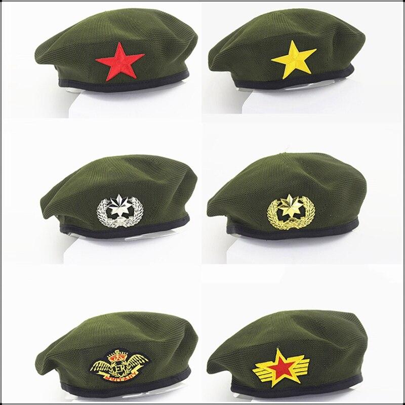 Unisex Army Green Berets Sailor Dance Performance Cosplay Hats Star Emblem Breathable Sailors Hat Walk Travel Navy Military Caps