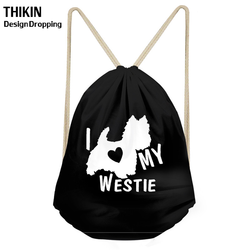 Love My Westie Dog Pattern Drawstring Bags Cute Women Folding Portable String Backpacks Grocery Storage Shopper Bag For Ladies