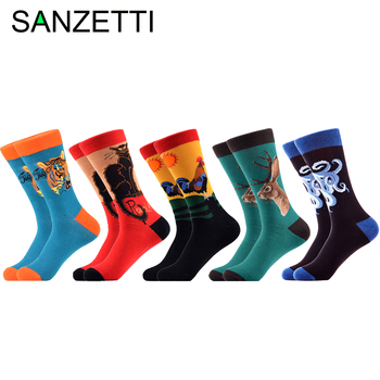 SANZETTI 5 Pairs/Lot New Style Mens Casual Combed Cotton Happy Crew Socks Elk Guitar Flowers Pattern Gifts Creative Dress