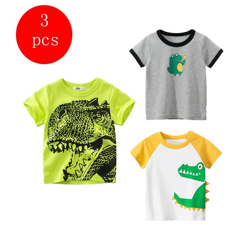 27kids 3pcs/lots 27kids 3pc Dinosaur Pattern Boys T Shirt for Kids Baby's Tops t-shirt Cotton Children Short Sleeve Clothes 5
