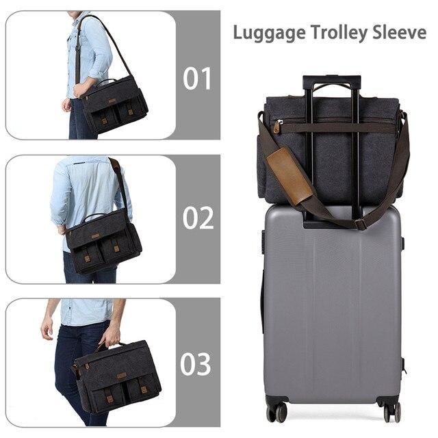 Vaschy mensageiro saco para homem do vintage resistente à água encerado lona 15.6 polegada portátil maleta acolchoado bolsa de ombro para homens 2