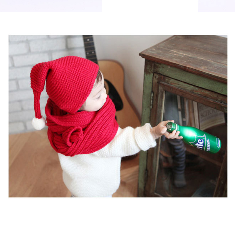 Winter Kids Scarves Baby Boys/Girls Scarf/Cap Solid Soft Scarf Collar Children Stretch Neck Ring Winter Knitted/Christmas Hat