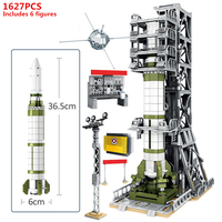 China Aerospace Satellite Sounding rocket Launch Umbilical Tower Building Blocks Kit Bricks Classic Model Kids Toy For Children