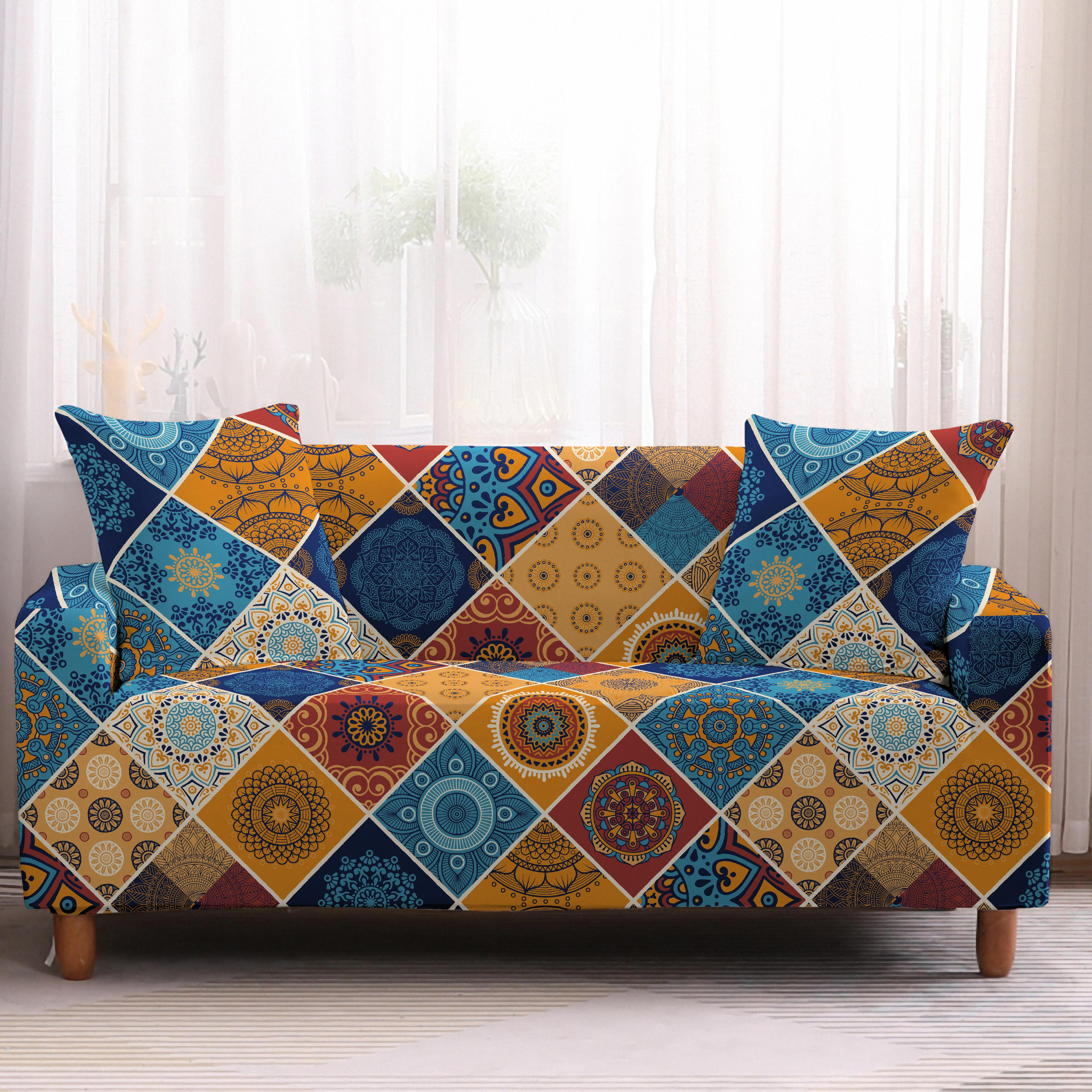 Bohemia Slipcovers Sofa Cover in Mandala Pattern to Protect Living Room Furniture from Stains and Dust 6