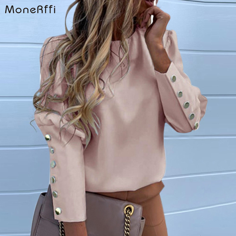 MoneRffi Puff Shoulder Blouse Shirts Office Lady New Autumn Metal Buttoned Detail Blouses Women Pineapple Print Long Sleeve Tops