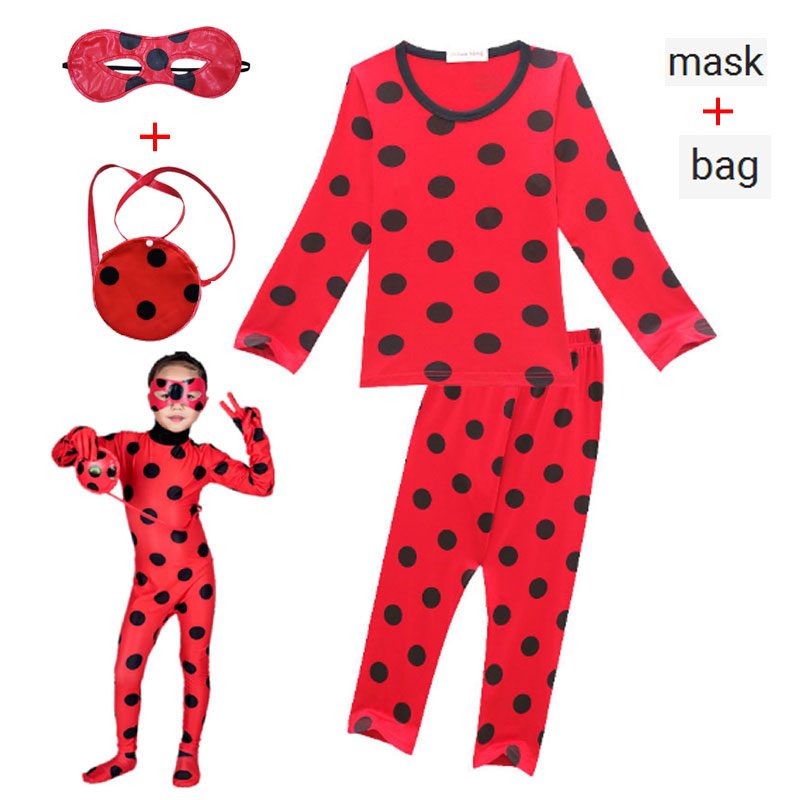 Lady Bug Ladybug Autumn Children's Pajamas Set Red Dot Print Clothing Set Baby Girl's Christams Party Cosplay Costumes Clothes