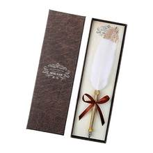 Retro białe piórko pióro do zanurzania biznes podpis długopisy w/pudełko biurowe prezenty na urodziny pary starszych nauczyciel Party dobrodziejstw
