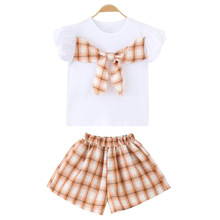 Summer Girls Clothes Set Children Clothing Outfits Fashion Plaid Bow T-shirt & Shorts for Kids Baby Girl Casual Suits 8 12 Years girls boutique outfits children clothing set winter 2018 fashion little girls clothing sets baby girl suits warm kids clothes