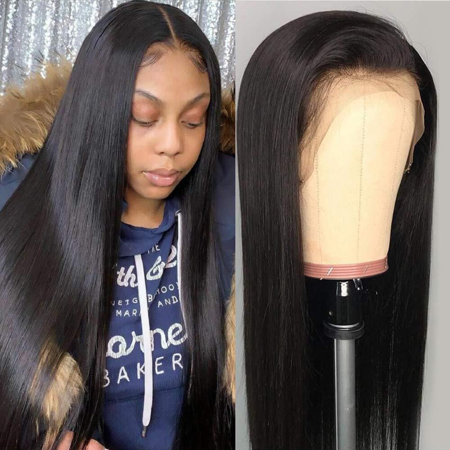 Synthetic Straight Lace Front Wig Hd Lace Wigs Brazilian 13x4 Glueless Lace Front Human Hair Wigs For Women Remy 180% Density