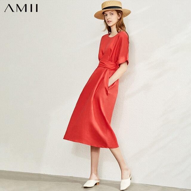 Amii Minimalism New Causal Women's Dress Offical Lady 100%Linen Oneck Loose Belt Calf-length Women's Summer Dress 12140192 1