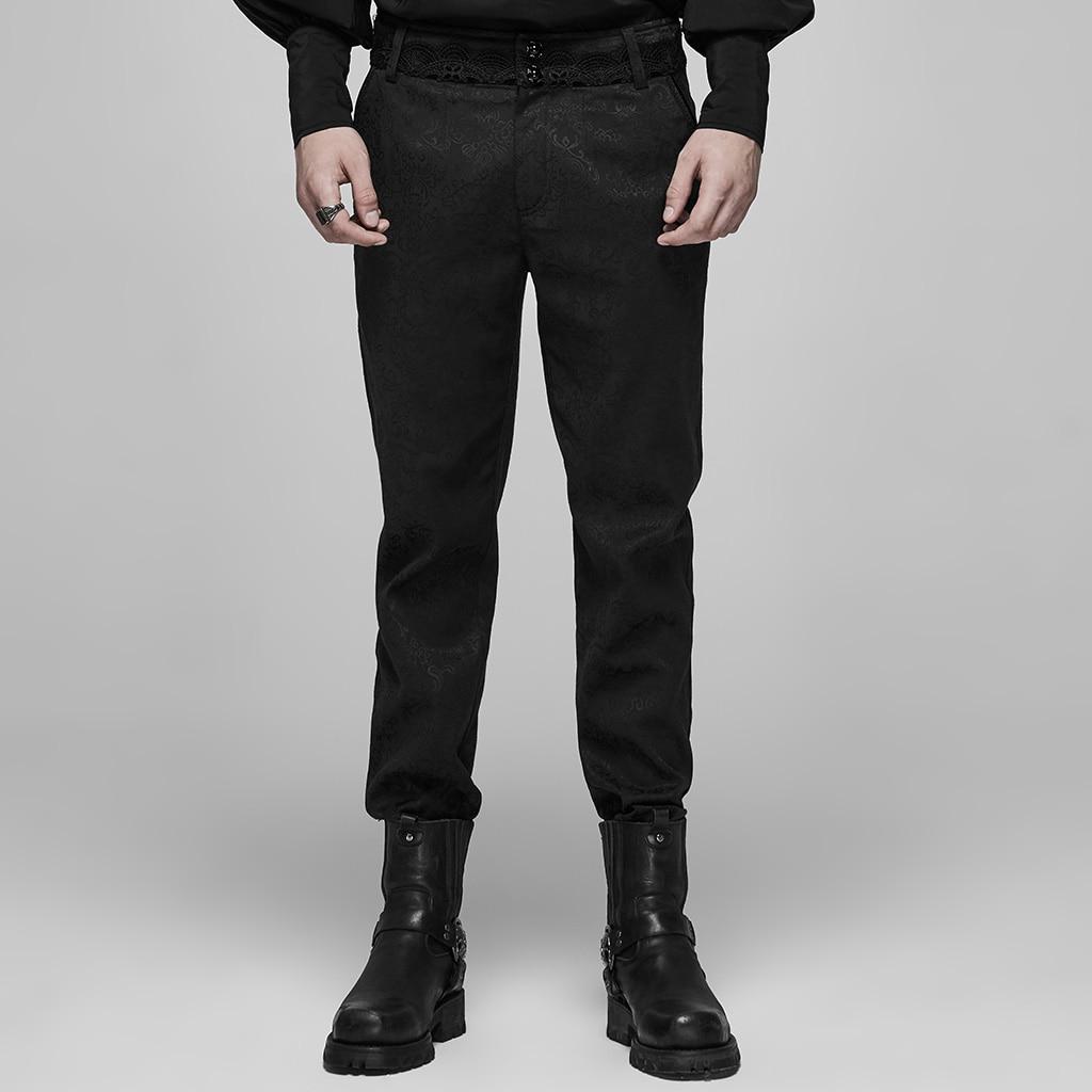 PUNK RAVE Men Goth Blood Jacquard Pants Delicate Buttons Decoration Evening Dinner Long Trousers