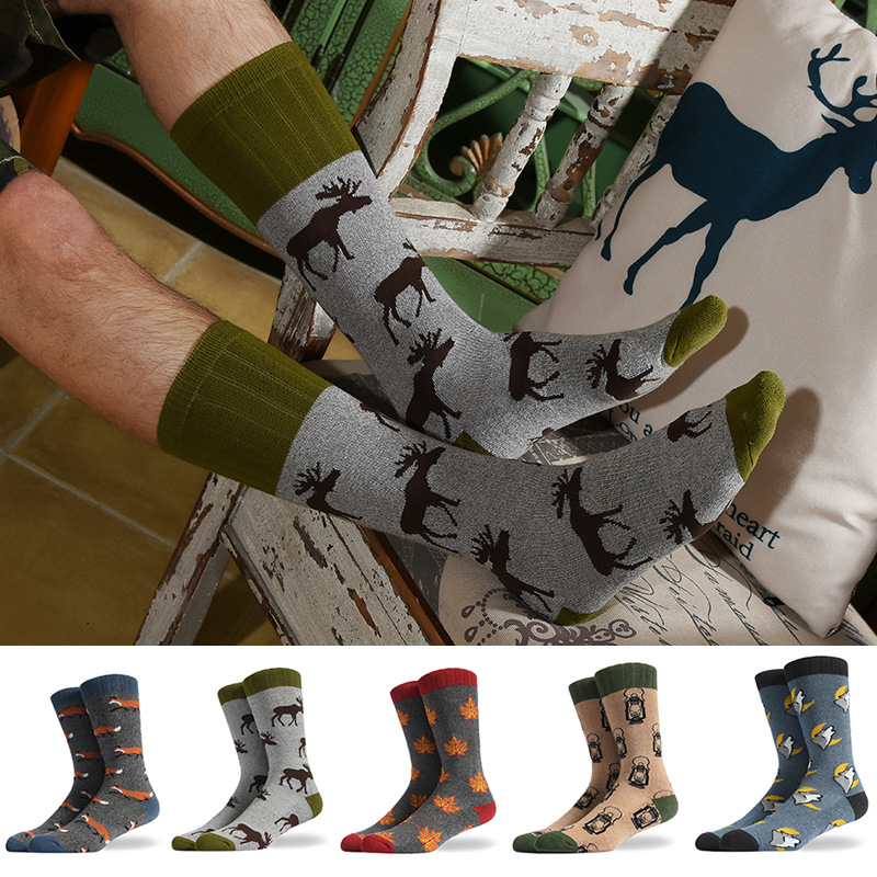 2020  New Fashion Tide Socks Men's Fun Animal Cotton Socks Novel Socks Barefoot Deer Fox Leaf Tide Socks