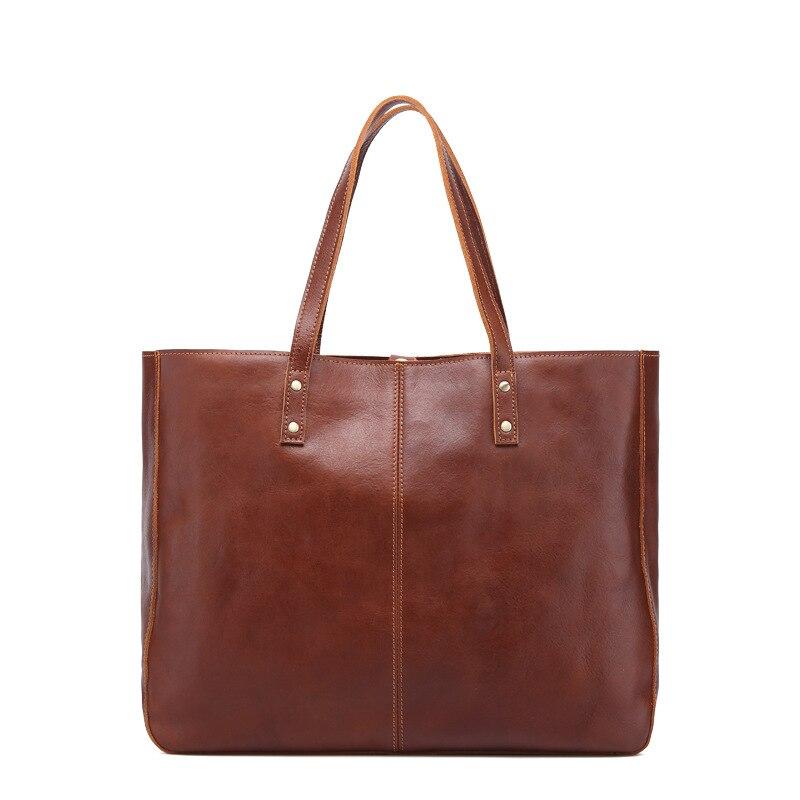 Vintage Real Leather Office Bags For Women High Quality Large Capacity Handbag Briefcase Shouler Bag Genuine Leather Laptop Bag