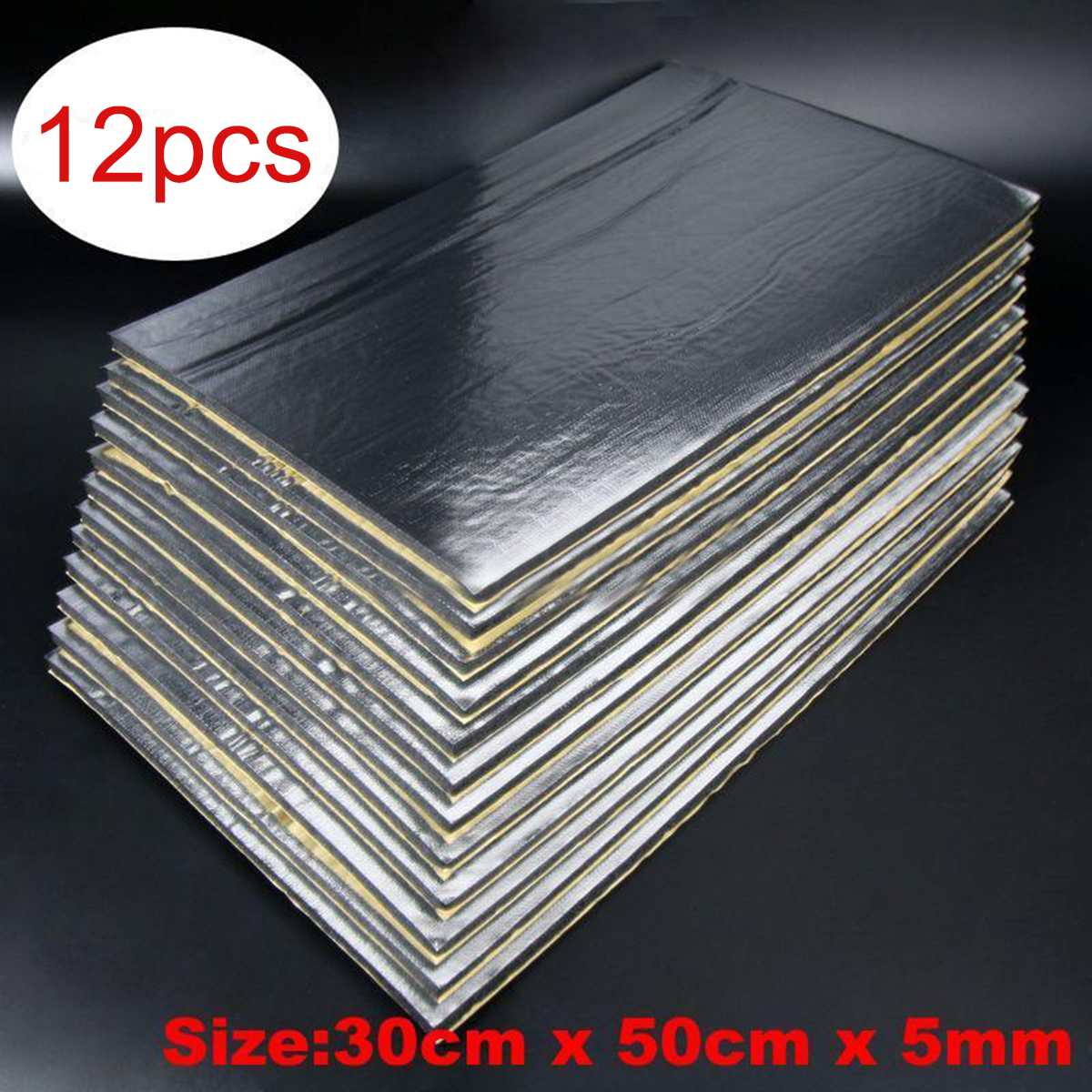 12Pcs 30cm X 50cm  5mm Car Sound Proof Deadening Upgarded Car Truck Anti-noise Sound Insulation Cotton Heat Closed Cell Foam