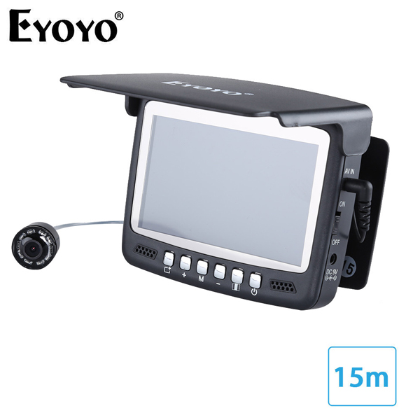Самый! Eyoyo 15м камера рыбоискатель подводная рыбалка 1000TVL подледный лов запись видео DVR 8 инфракрасные светодиоды+солнцезащитный козырекr+ 4G TF карта - Цвет: 15M Cable NO DVR