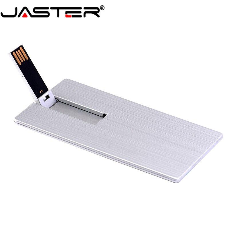 JASTER Usb 2.0  Flash Drive 4GB 8GB 16GB 32GB 64GB Metal Card Pendrive Business Gift Usb Stick Credit Card Pen Drive