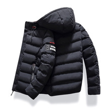 Men Down 2019 Brand Fashion Autumn Winter Jacket Parka Coat Hooded Warm Mens Winter Coat Casual Overcoat 4XL Parkas Down Male cheap STANDARD Slim zipper Full Solid Broadcloth Hat Detachable Pockets NONE Polyester REGULAR White duck down 300g 0 8 kg Black red army green