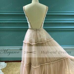 Image 4 - Mryarce Unique Wedding Dress Sleeveless V Neck Boho Hippie Style Whimsical Ruched Skirt Tulle Bridal Gowns