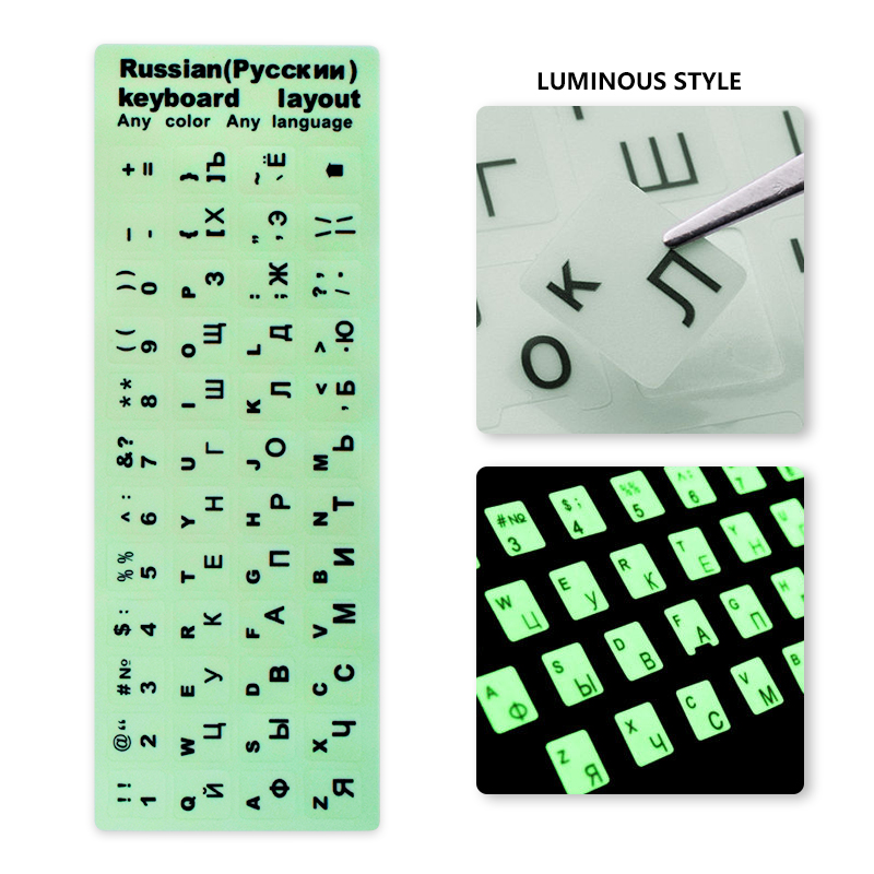 Keyboard Stickers Laptop Spanish//English//Russian//French//Deutsch//Arabic//Korean//Japanese//Hebrew//Thai Letters Keyboard Layout Cover-Arabic Black