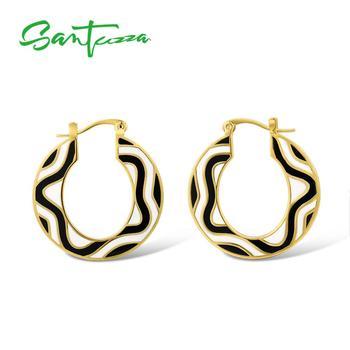 Boucles d'oreilles en laiton SANTUZZA pour femmes couleur or jaune noir et blanc à la main émail géométrique boucles d'oreilles fête bijoux de mode