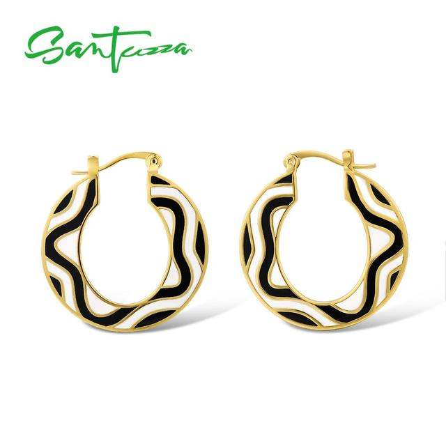 SANTUZZA Brass Earrings for Women Yellow Gold Color Black And White HANDMADE Enamel Geometric Earrings Party Fashion Jewelry