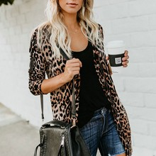 Long Sexy V-neck Single Breasted Womens Jacket Fashion Beautiful Leopard Print Sleeve Coat Casual Full Loose M-2XL