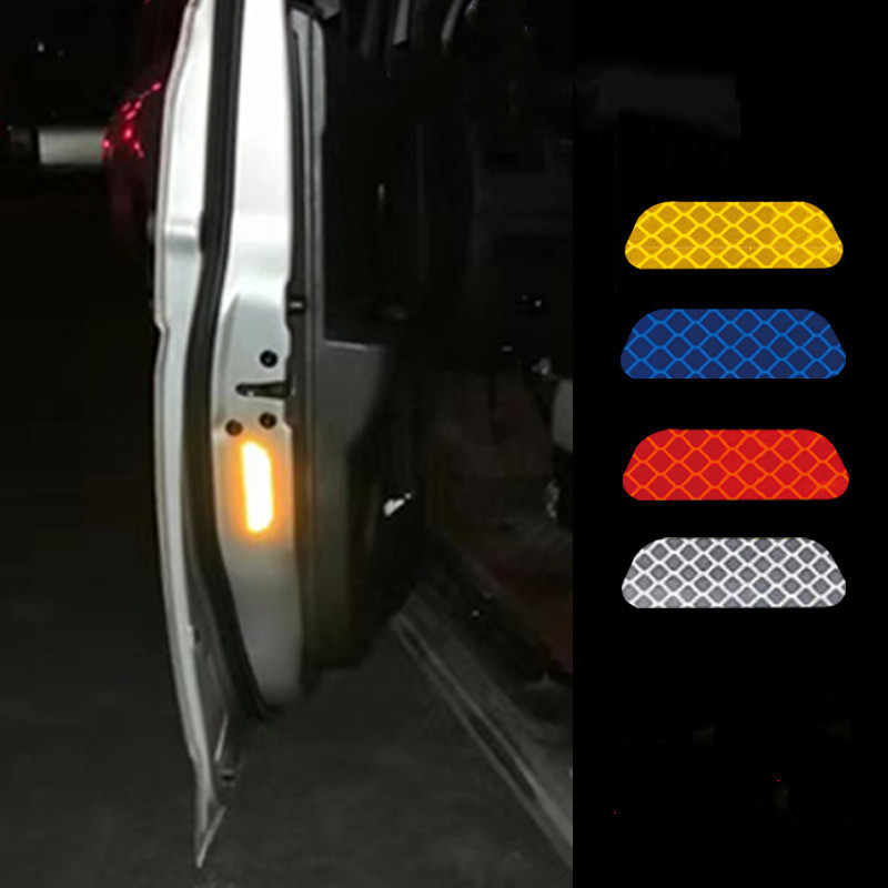 2 Pieces/set Car Reflective Stickers Car Door Diamond Wheel Eyebrow Sticker Decal Warning Tape Safety Mark Reflective Strips