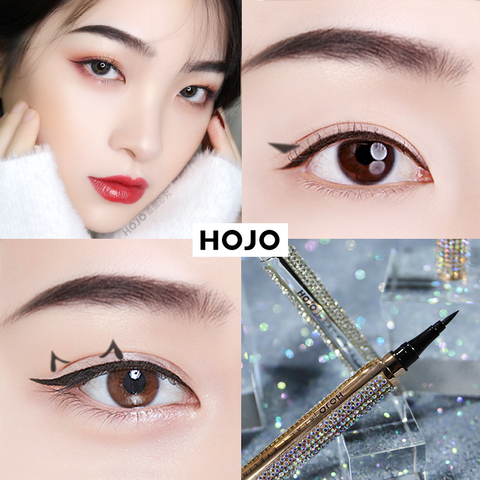 HOJO Starry Diamond Shining Eyeliner Pen Black Waterproof Long Lasting Quick Dry Gold and Silvery Smooth Easy to wear Beauty Islamabad
