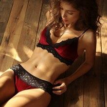 Roupa interior feminina francesa alça ajustável reunir acolchoado de veludo renda triângulo copo lingerie com calças conjunto sutiã fio livre empurrar para cima