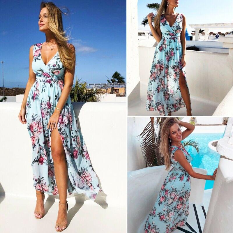 Women Boho Flower Long Dress Ankle Length Sleeveless V Neck Empire Evening Party Beach Summer Split Blue Dresses