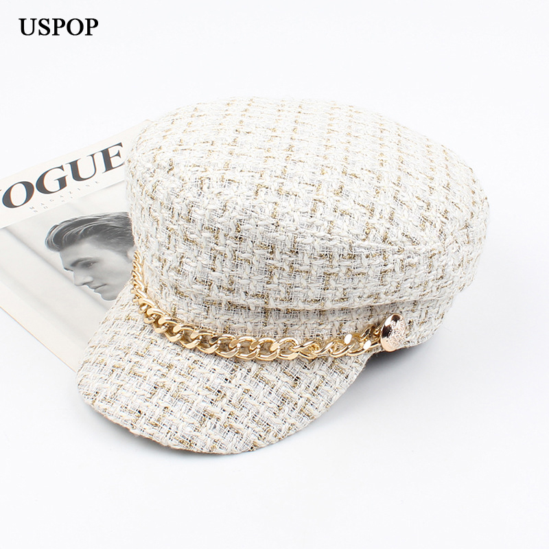 USPOP 2019 New women hats Tweed plaid newsboy caps chain flat top visor cap vintage plaid military cap female autumn winter hats