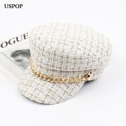 Женская твидовая клетчатая кепка USPOP, кепка газетчика с плоским козырьком на цепочке, винтажная клетчатая Военная Кепка для осени и зимы, 2020