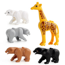 Building blocks animals assembled educational toys building blocks giraffe polar bear variety